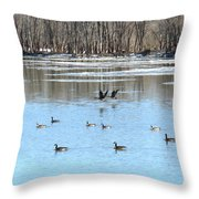 Canadian Geese In Flight Throw Pillow