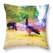Canadian Geese In The Park 3 Throw Pillow