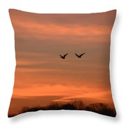 Canadian Geese Morning Flight Throw Pillow