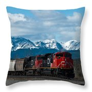 Canadian National Freight Train Leaving The Rockies - Hinton Alberta Throw Pillow