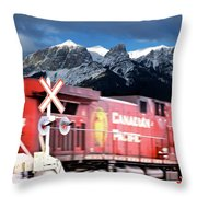 Canadian Pacific Trail Slices Through The Rockies Throw Pillow