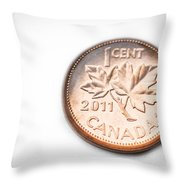 Canadian Penny Throw Pillow by Adnan Bhatti