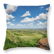 Canadian Prairie At Head-smashed-in Buffalo Jump Throw Pillow