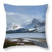 Canadian Rockies Bow Lake Throw Pillow