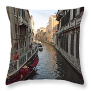 Canal And Gondola Throw Pillow
