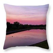 Canal At Sunset Throw Pillow