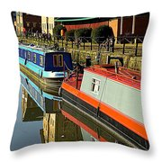 Canal Barges At Gloucester Dock Throw Pillow
