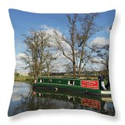 Canal Boat On Wey Navigations Throw Pillow