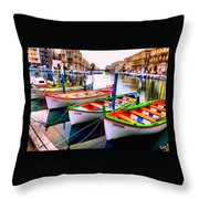 Canal Boats On A Canal In Venice L A S Throw Pillow