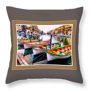Canal Boats On A Canal In Venice L A S With Decorative Ornate Printed Frame.  Throw Pillow