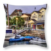 Canal Houses And Boats Throw Pillow