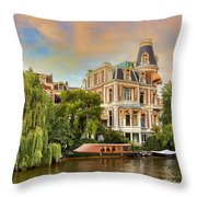 Canal In Amsterdam Throw Pillow