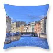 Canal In St. Petersburgh Russia Throw Pillow