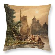 Canal Landscape With A Church Throw Pillow