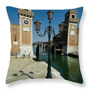 Canal Leading Into The Arsenale Throw Pillow