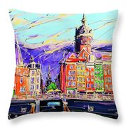 Canal Of Amsterdam, Storm Is Comming Throw Pillow