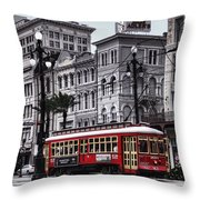 Canal Street Trolley Throw Pillow