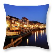 Canal Thorbeckegracht In Zwolle At Dusk With Boats Throw Pillow