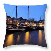 Canal Thorbeckegracht In Zwolle In The Evening Throw Pillow