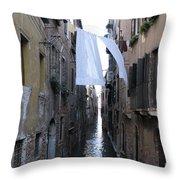 Canal. Venice Throw Pillow by Bernard Jaubert