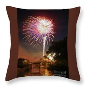 Canal View Of Fire Works Throw Pillow