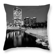Canal Walk And Richmond Skyline In Black And White Throw Pillow