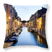Canale Blu Throw Pillow