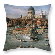 Canaletto: Thames, 18th C Throw Pillow