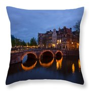 Canals Of Amsterdam At Night Throw Pillow
