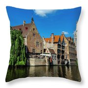 Canals Of Bruges Throw Pillow