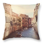 Canals Of Venice With Instagram Vintage Style Filter Throw Pillow