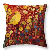 Canary In Red Throw Pillow