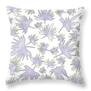 Canary Vine Leaves - Purple And Green Throw Pillow