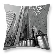 Canary Wharf Financial District In Black And White Throw Pillow