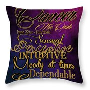 Cancer Throw Pillow by Mamie Thornbrue