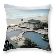 Cancun Beach Resort Throw Pillow