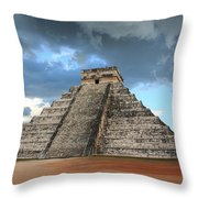 Cancun Mexico - Chichen Itza - Temple Of Kukulcan-el Castillo Pyramid 3  Throw Pillow