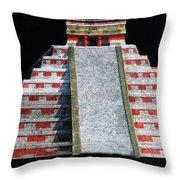 Cancun Mexico - Chichen Itza - Temple Of Kukulcan-el Castillo Pyramid Night Lights 1 Throw Pillow