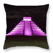 Cancun Mexico - Chichen Itza - Temple Of Kukulcan-el Castillo Pyramid Night Lights 2 Throw Pillow