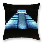 Cancun Mexico - Chichen Itza - Temple Of Kukulcan-el Castillo Pyramid Night Lights 3 Throw Pillow