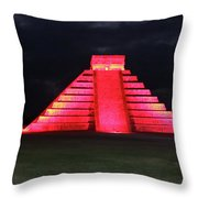 Cancun Mexico - Chichen Itza - Temple Of Kukulcan-el Castillo Pyramid Night Lights 4 Throw Pillow
