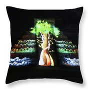 Cancun Mexico - Chichen Itza - Temple Of Kukulcan-el Castillo Pyramid Night Lights 5 Throw Pillow