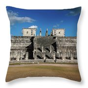 Cancun Mexico - Chichen Itza - Temple Of The Warriors Throw Pillow