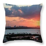 Cancun Mexico - Sunrise Over Cancun Throw Pillow