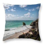 Cancun Mexico - Tulum Ruins - Caribbean Beach Throw Pillow