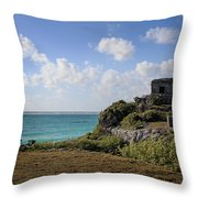 Cancun Mexico - Tulum Ruins - Temple For God Of The Wind 1 Throw Pillow