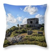 Cancun Mexico - Tulum Ruins - Temple For God Of The Wind 2 Throw Pillow