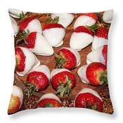 Candied Strawberries Throw Pillow