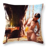 Candle In The Sunlight Throw Pillow