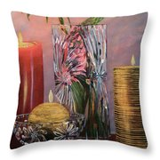 Candlelit Lupins Throw Pillow